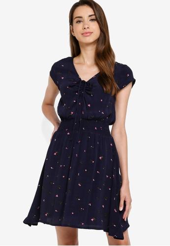 Something Borrowed 海軍藍色 Smocked 腰圍 修身喇叭裙裁剪 洋裝 F51D0AA158E5FAGS_1