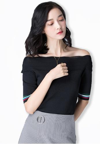Sunnydaysweety black 2017 F/W Black Short Sleeves Off Shoulder Top A083112BK SU219AA0FPCBSG_1
