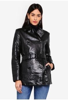 Valrico - 黑色短版剪裁皮革外套
