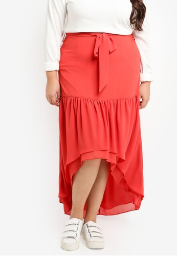 LOST INK PLUS pink Plus Size Maxi Skirt With Asym Frills 2270FAA2974741GS_1