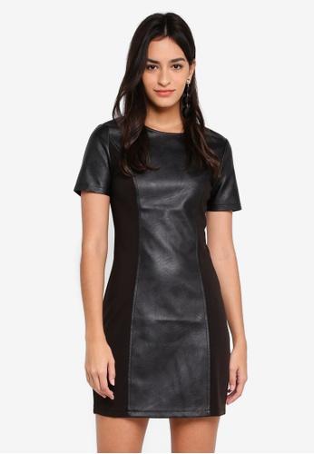 ZALORA black PU Panel Shift Dress FB348AAC721C6AGS_1