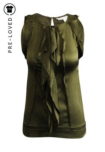 Diane Von Furstenberg green Pre-Loved diane von furstenberg Ruffle Sleeveless Blouse. CB939AA5AF926BGS_1