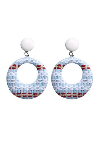 Glamorbit black and white Monochrome Rattan Dangling Statement Earrings E04A2AC9912EBEGS_1