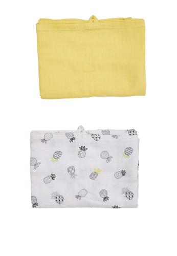 Du Pareil Au Même (DPAM) yellow Swaddle Cloth 2-Pack 10BDAKA3E7D5DAGS_1