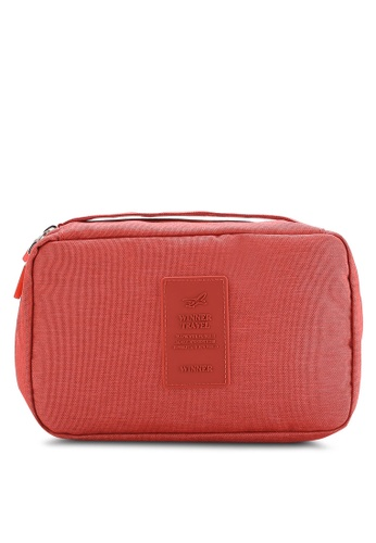 Bagstationz red Lightweight Water Resistant Travel Toiletries Pouch BA607AC28QNVMY_1