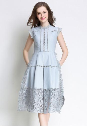 Sunnydaysweety blue Elegant Crew-neck Sleeveless One Piece Dress UA062220BL SU219AA98JVHSG_1