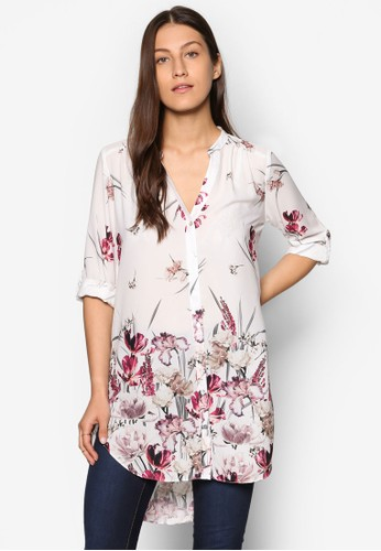 花卉印花長袖襯衫, 服飾, 上esprit 評價衣