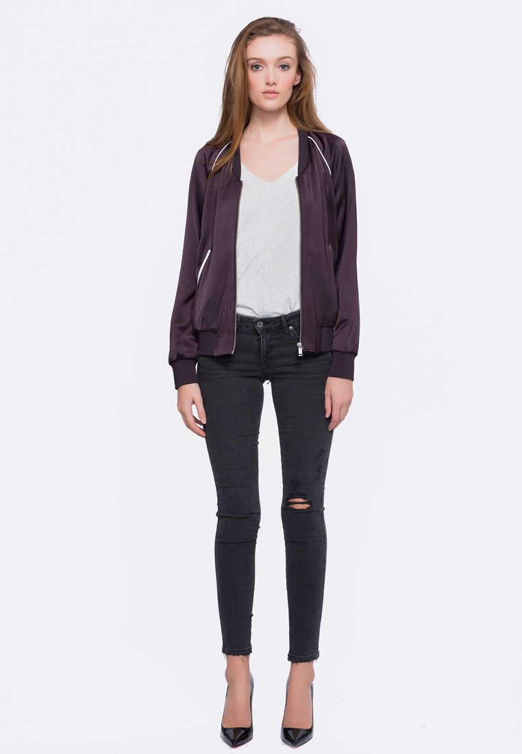 Alpha Chloe Bomber Neck Style Low Violet Jacket OFwqUO
