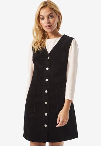 Dorothy Perkins black PETITE Black V Neck Corduroy Pinny Dress 913C4AA54D945FGS_1