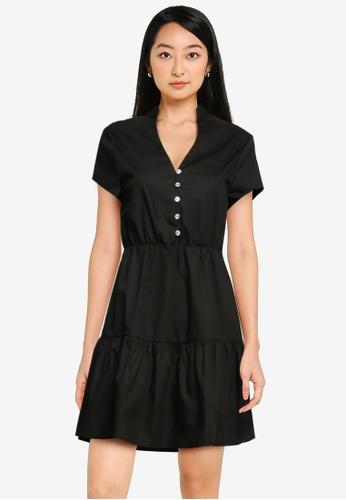 ZALORA BASICS black Tiered Shirt Dress E509CAA0F7A6AAGS_1