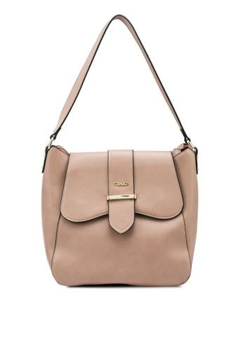 Mel&Co brown Front Lapel Faux Leather Single Handle Bag 3E513ACA756F93GS_1