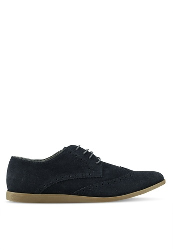 Topman navy Navy Faux Suede Slate Brogues A448BSH7C5039AGS_1