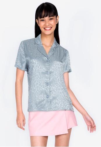 ZALORA BASICS blue Lounge Short Sleeve Pyjama Shirt 6DD4BAA68191B6GS_1