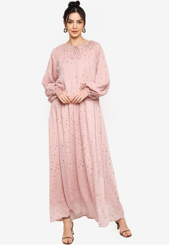 Zalia pink PEASANT TEXTURED DRESS 85889AA417DCD9GS_1