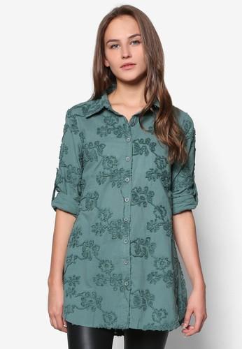 花卉圖案長袖襯esprit outlet 台中衫, 服飾, 服飾