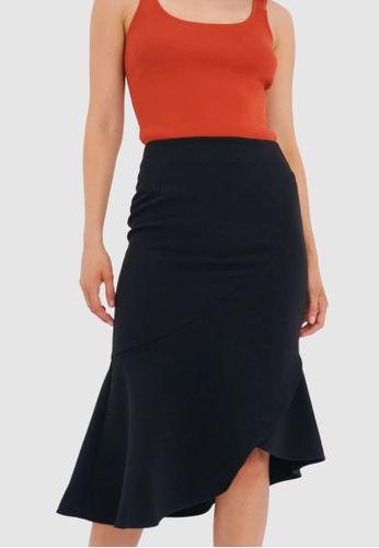 FORCAST black Margo Asymmetric Midi Skirt 4E156AAF94FBAFGS_1