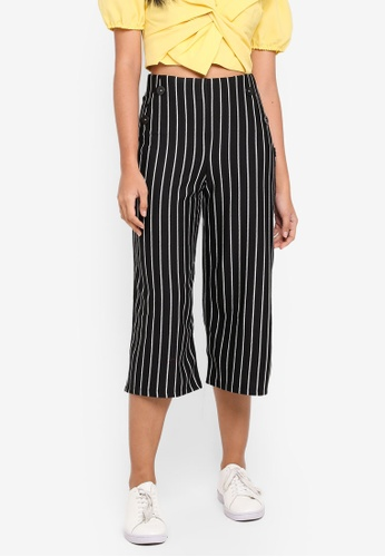 Miss Selfridge black Petite Black Striped Button Culotte Trousers 2334EAA067D93DGS_1