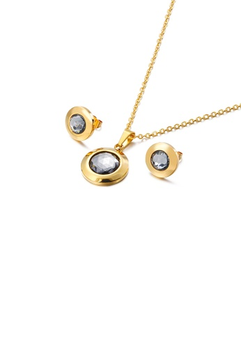Glamorousky grey Simple Temperament Plated Gold Geometric Round 316L Stainless Steel Necklace and Stud Earrings Set with Grey Cubic Zirconia DE737AC8971788GS_1