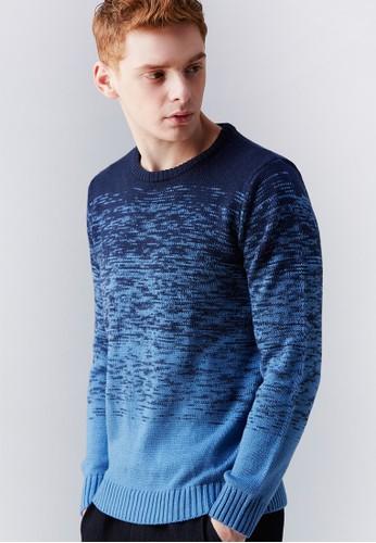 韓系休閒。雙色漸層。圓領針織衫-MIT-03630-藍, esprit旗艦店服飾, 外套
