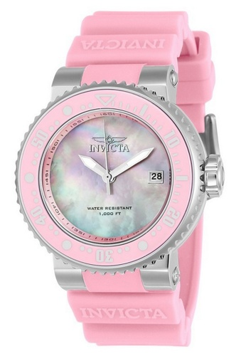 INVICTA pink Invicta Pro Diver Men 40mm Case Pink Silicone Strap Pink Dial Quartz Watch 22669 w/ Cap IN968AC0FG43SG_1
