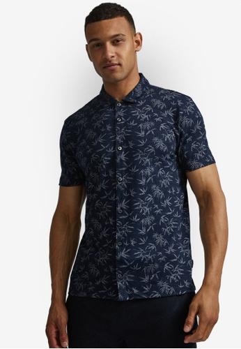 Burton Menswear London 海軍藍色 棕梠葉印花襯衫 35227AA71C71EFGS_1