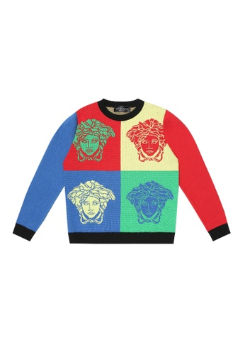 Versace red and yellow and green and blue and multi VERSACE BOYS KNITWEAR A48FCKA963D348GS_1