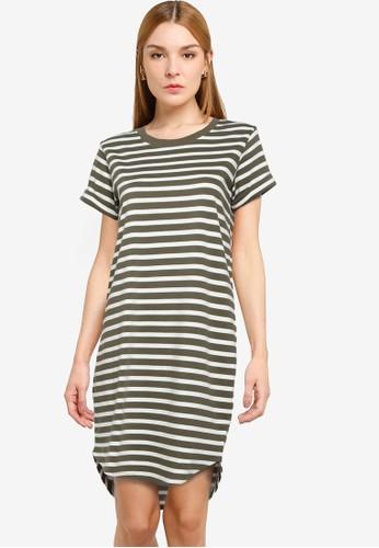 JACQUELINE DE YONG green Ivy Short Sleeve Stripe Dress CB480AA32C728CGS_1