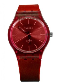 Yazole Deluxe Women's Red Silicone Strap Watch 288