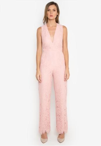 NOBASIC pink V Neck Sleeveless Jumpsuit NO444AA0FQI7SG_1