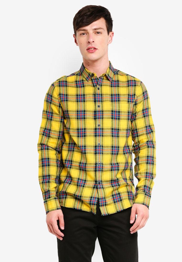 Sleeve Checkered Yellow Long Shirt Topman Yellow qEwvdpnZW