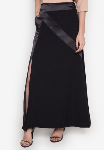 NEW ESSENTIALS black Dennis Lustico Satin Detailed Skirt NE239AA0JD1XPH_1