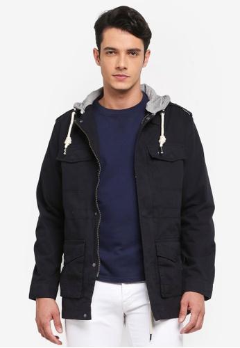 Indicode Jeans 黑色 休閒連帽夾克外套 0D738AAFF19FDAGS_1
