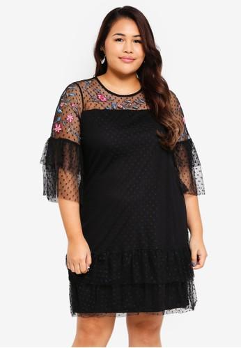 Junarose black Plus Size Mesh Dress 591D6AA28C8F1EGS_1