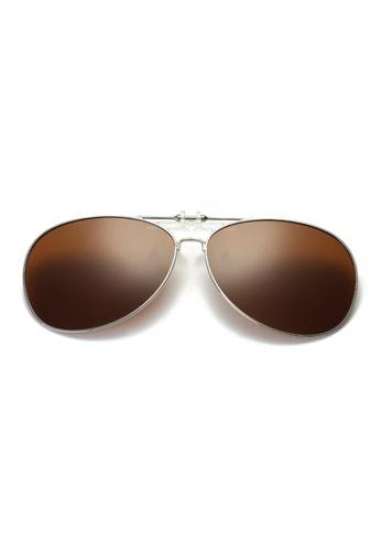 A FRENZ brown Aviator Full Rim Polarized UV400 Flip-Up Clip On Sunglasses AF99CGLA9AFFB5GS_1