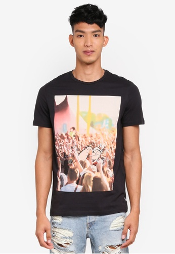 Jack & Jones 黑色 短袖印花T恤 B812EAADAE2CDFGS_1