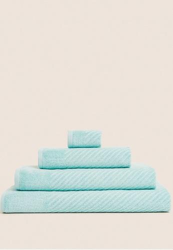 MARKS & SPENCER green M&S Cotton Rich Plush Quick Dry Towel 41E86HL1DCE8D3GS_1