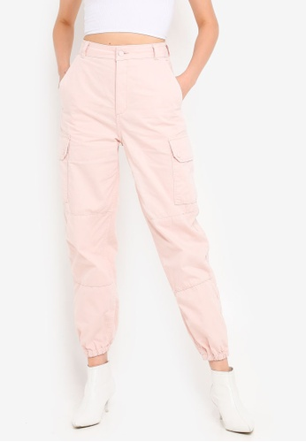 d086c879d4ebce Buy TOPSHOP Pink Cuffed Utility Cargo Trousers Online | ZALORA Malaysia