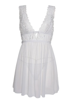 SMROCCO white Lucia Lingerie Nightie Dress PM8075 (White) 0BB0EAAAD51F15GS 1 2979547e8