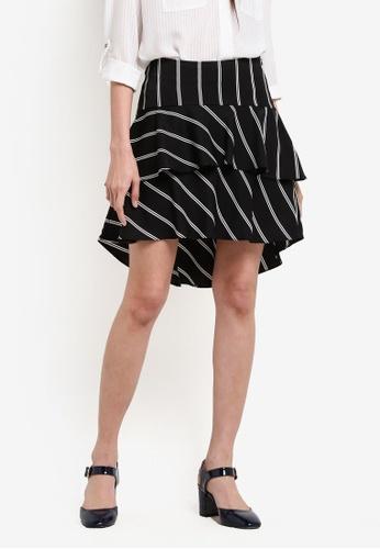 ZALORA black Stripe Layered Ruffle Skirt DFC18AAE817757GS_1