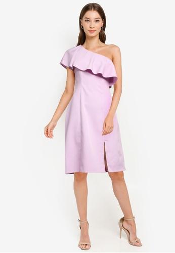 ZALORA OCCASION purple One Shoulder Frill Dress 51345AA0C21A6BGS_1