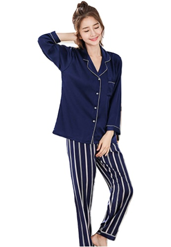 f8d9053ae5f LYCKA navy LYCKA-LMS09109 Korean Style Spring-Summer Lady Stripe Printed  Pajamas Set-