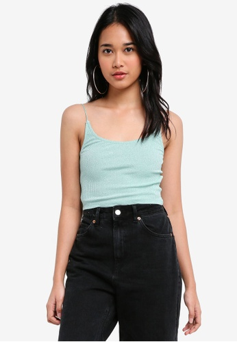 TOPSHOP green Metallic Cami Top 5CFC8AADE22B53GS_1