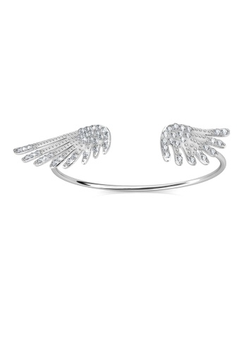 Her Jewellery silver Wings Bangle -  Made with premium grade crystals from Austria HE210AC0F1CRSG_1