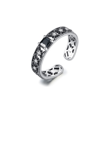 Glamorousky black 925 Sterling Silver Classic Openwork Cubic Zirconia Adjustable Open Ring 56EFAAC00DF122GS_1
