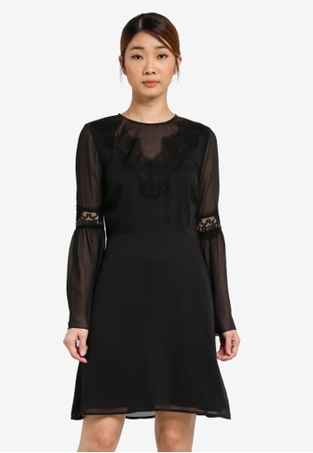 WAREHOUSE black Lace Neck Trim Dress WA653AA0SHL7MY_1