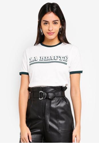 Vero Moda white Beaute Contrast Short Sleeve T-Shirt 8ED5FAA854A676GS_1