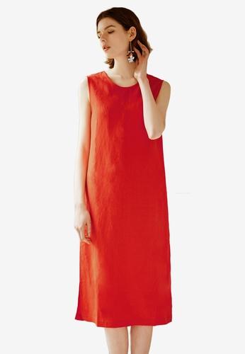 NAIN orange V Front Shift Dress 92D41AA2B56FA6GS_1