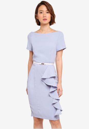 Paper Dolls blue Ruffle Front Dress With Belt 2E36FAA7D66172GS_1