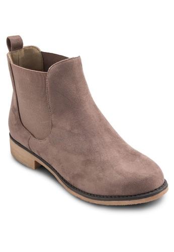 麂皮暗紋切爾西短esprit服飾靴, 女鞋, 靴子