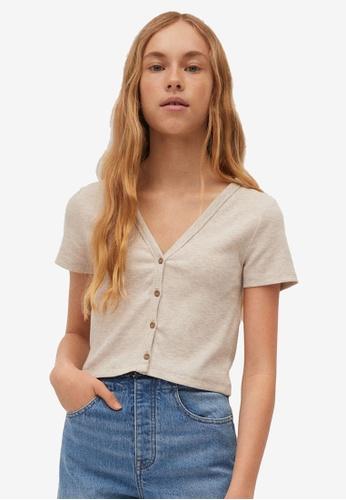 MANGO KIDS brown Buttoned Ribbed T-Shirt E8A3FKAAFF5C36GS_1